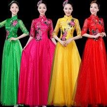 2020 중년 및 노인을위한 새로운 댄스 복장 우아한 클래식 롱 스커트 지터 드레스 중국 스타일 여성 합창