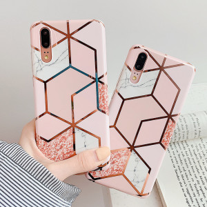 Electroplate Geometric Marble Phone Case For Huawei P20 P30 P40 Pro Lite Mate 20 Pro Lite Anti-Shock Pink Soft IMD Back Cover(China)