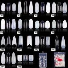 Peças populares 100, 200 peças, peças de pontas de unhas falsas para manicure, pontas de unhas falsas quadradas com stiletto e balerina, 500 peças