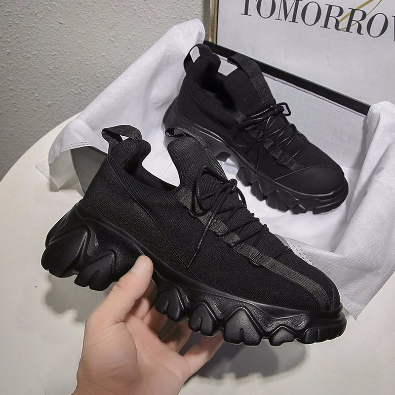 Woman Fashion Running Shoes Breathable Mesh Sport Trainers Famale Jogging Increase Platform Shoes Zapatillas Hombre J4-01