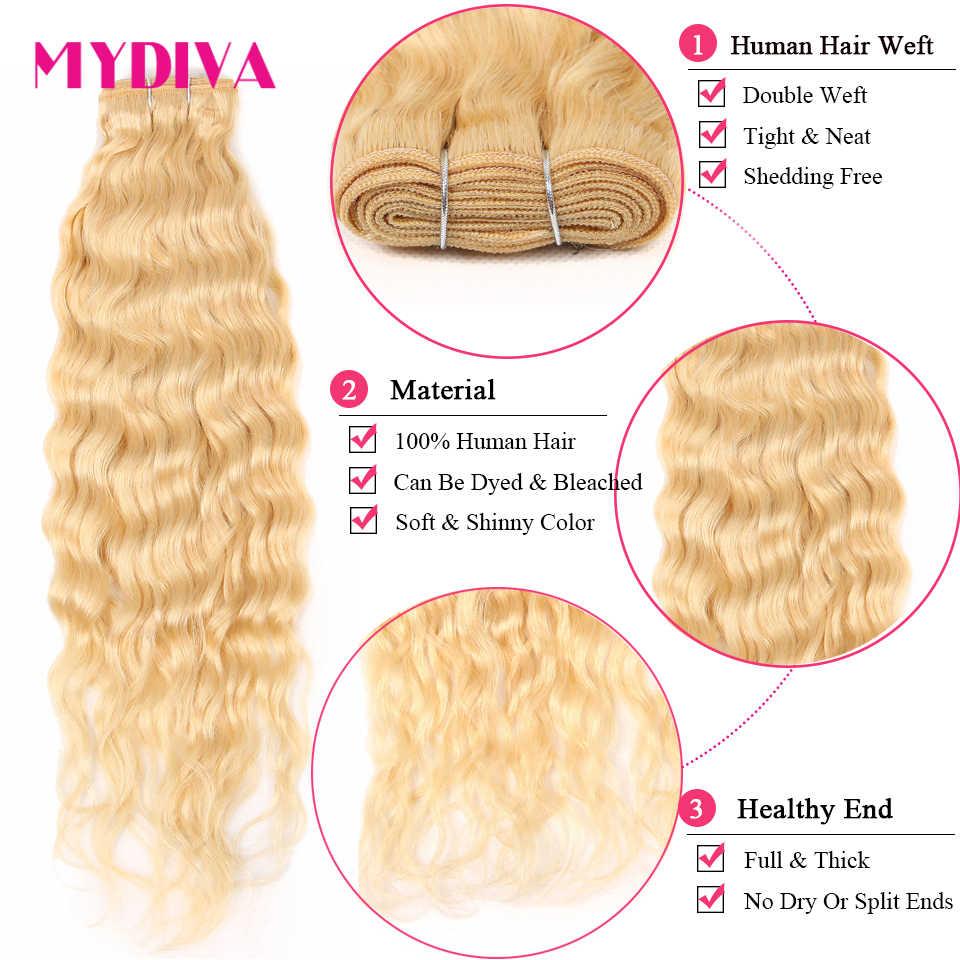 613 Bundels Met Frontale Braziliaanse Water Wave 3 Bundels Met Sluiting Remy Human Hair Blonde Bundels Met Frontale Sluiting Mydiva