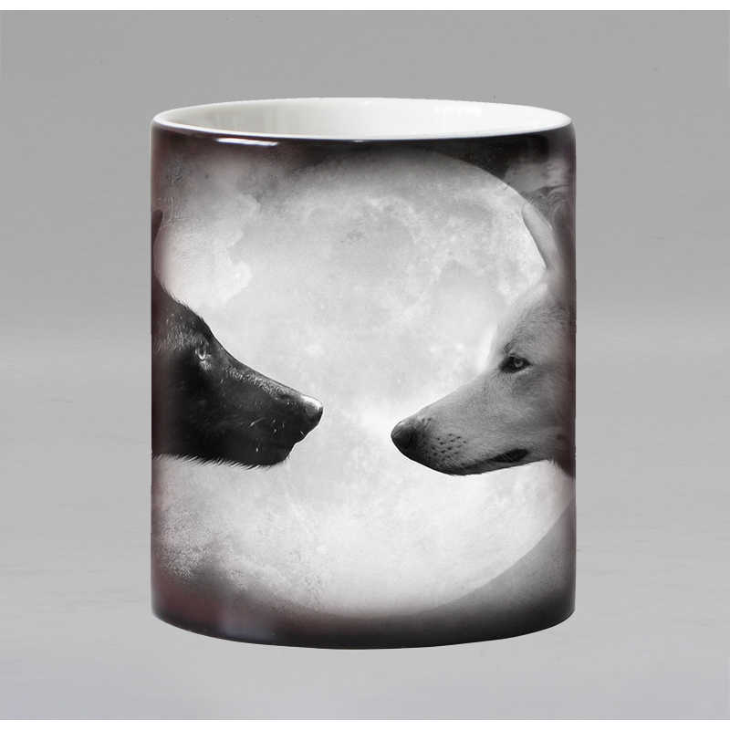 Funny nowość Animal wolf ceramiczny kubek na kawę zmieniający kolor wrażliwy na ciepło magiczna herbata kubek kubki zaskoczony prezent