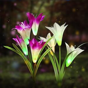 Image 1 - 2 adet güneş bahçe su geçirmez açık alan aydınlatması noel düğün dekor beyaz/mor çiçek peri sokak lambası güneş enerjisi çim lambası