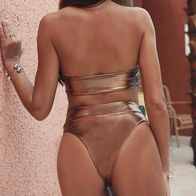 Wanita Diikat Baju Renang Brasil High Waist Bikini Thong Baju Renang Wanita Push Up Pakaian 2019 Musim Panas Bak Mandi Seksi Biquini
