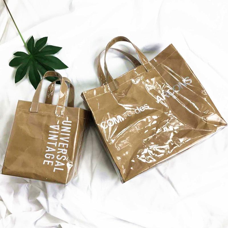 L'OMBRE Women Bag Travel Bag Transparent Letter Big Shopping Paper Tote Bag Vintage Leisure Sac Main Femme сумка женская Bolsa