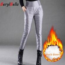 Pantalones con relleno de plumas para mujer, pantalón informal, blanco, grueso, cálido, ajustado, de cintura alta, de talla grande