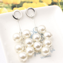 2019 New Metal alloy earrings White Natural Freshwater Baroque Pearl Earrings Multilayer long Tassels Jewelry for Women Gift