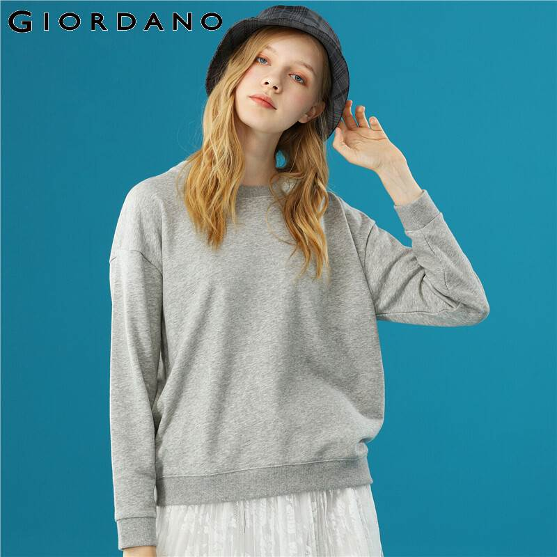Giordano Women Sweatshirt Solid Color Crewneck Sweatshirt Loose Relax Sudadera Mujer Long Sleeve Moletom Feminino 05329798