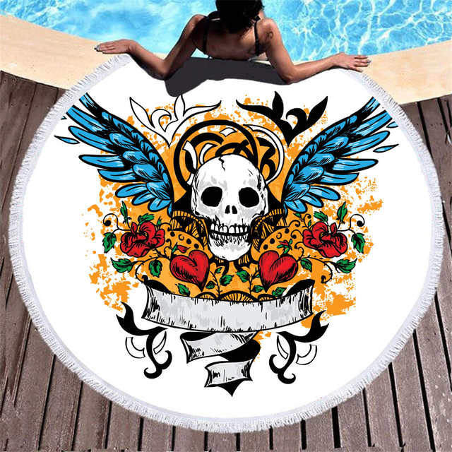 LOVE SKULL ROUND BEACH TOWELS (4 VARIAN)