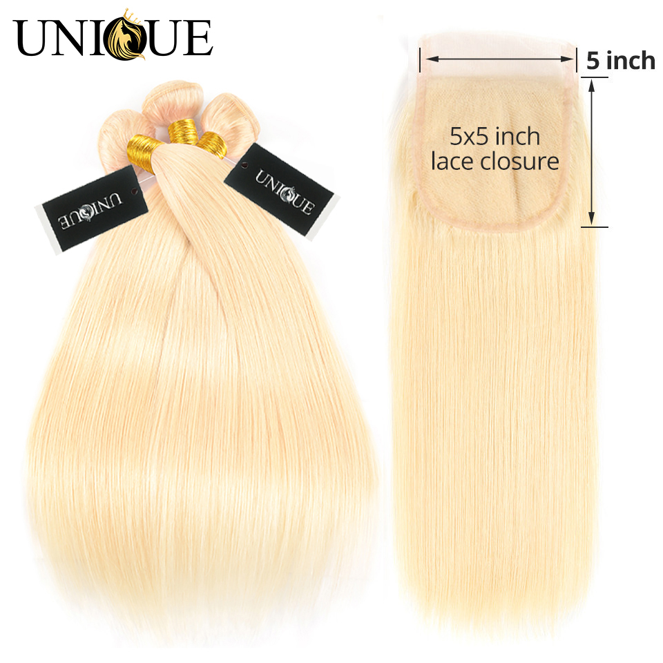 <font><b>613</b></font> Blonde Straight Bundles With <font><b>Closure</b></font> <font><b>5x5</b></font> <font><b>Lace</b></font> Unique Hair Brazilian <font><b>613</b></font> Straight Human Hair Weave 3 Bundles With <font><b>Closure</b></font> image