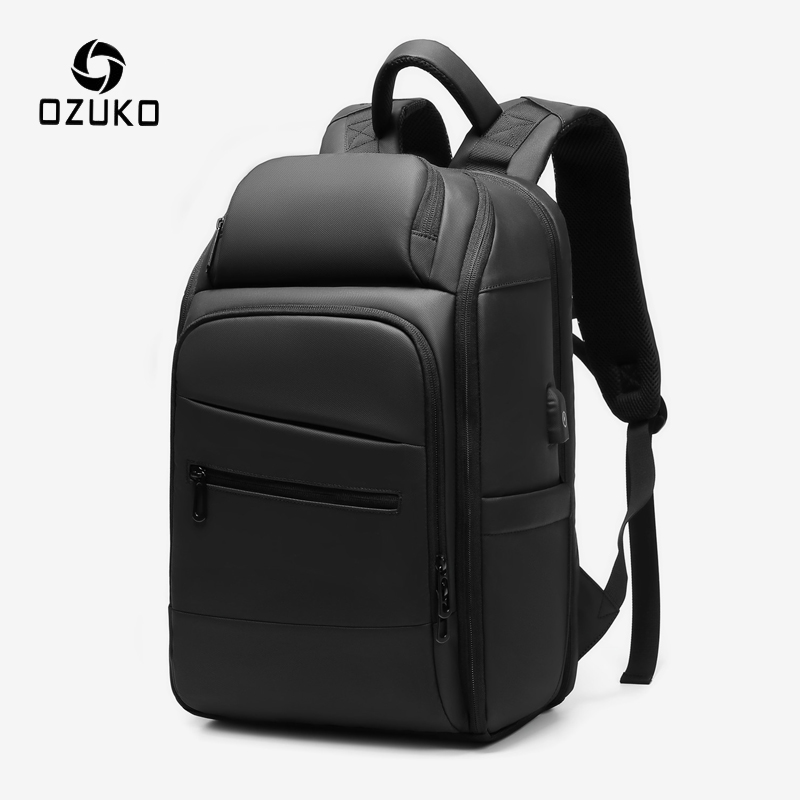 OZUKO PVC Water Repellent Backpack Men's Business USB Charge Casual Outdoor Backpacks Male 15.6 Inch Laptop Backpack Rucksack