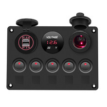 Doppia Porta USB Interruttore Sul Pannello Digitale Impermeabile Voltmetro 12V Presa di Auto Combinazione Marine LED Rocker Switch Panel(China)