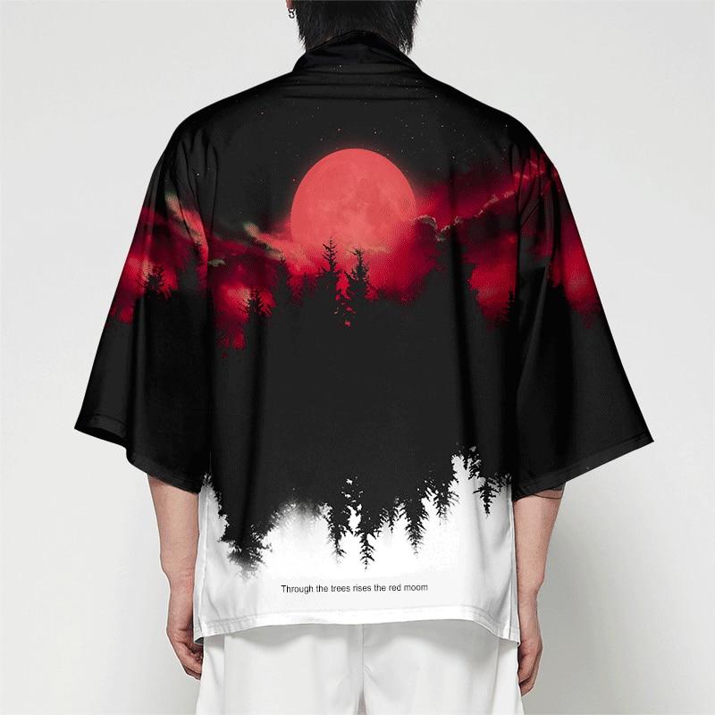 WAMNI Men Japanese Kimono Cardigan Men Samurai Costume Clothing Kimono Jacket Mens Forest kimono Shirt Streetwear