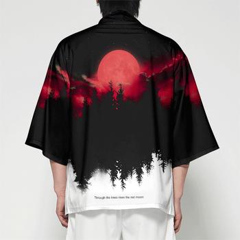WAMNI mężczyźni japońskie kimono Cardigan mężczyźni samuraj kostium odzież Kimono kurtka mężczyzna las kimono koszula Streetwear tanie i dobre opinie Poliester Odzież azji i pacyfiku wyspy Połowa Tradycyjny odzieży 3M25 Anime Kimono Hip Hop XXS-4XL As Picture Young Peaple