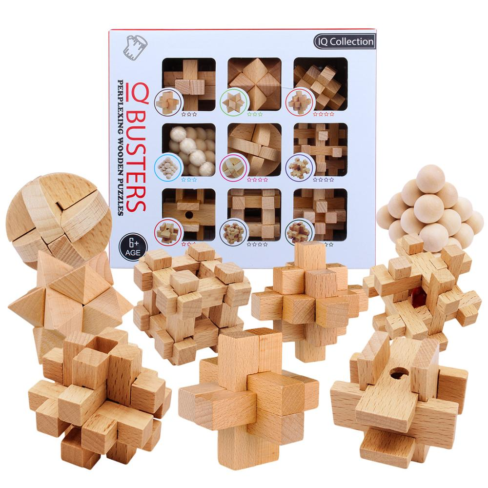 9pcs/set Beech 3D Handmade Vintage Ming Lock Luban Lock Wooden Toys Adults Puzzle Children Educational Toy Adult Christmas Gift