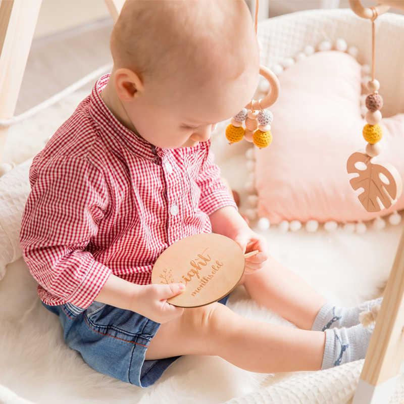 4/16 pçs do bebê mês marco cartão de madeira bebê nascimento mês recordding número comemorativo bebê marco clipe de madeira diy ferramenta
