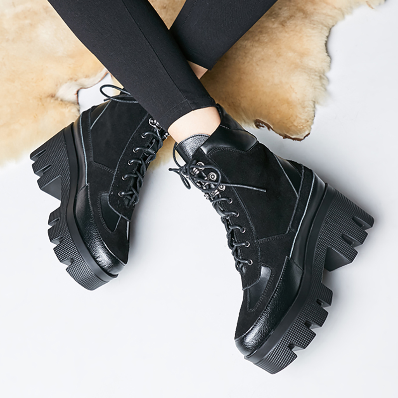 fanyuan Design Genuine Leather ankle Boots Woman Casual Lace Up Boots Shoes Woman Suede Female Square high Heel Ankle Boots in Ankle Boots from Shoes