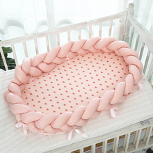 Baby Crib Cradle-Cradle Baby Bed for Children Newborn Pink Infant Crib Bumper Cotton Portable Cot Nest 95*50cm