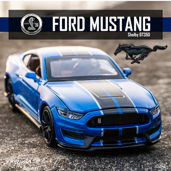 1:32 High Simulation Supercar Ford Mustang Shelby GT350 Car Model Alloy Pull Back Kid Toy Car 4 Open Door Children's Gifts Baby