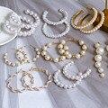 Neue Koreanische Einfache Plain Gold Metall Perle Hoop Ohrringe Für Frauen Einzigartige Erklärung Große ohrringe 2020 Mode Brincos Partei Schmuck