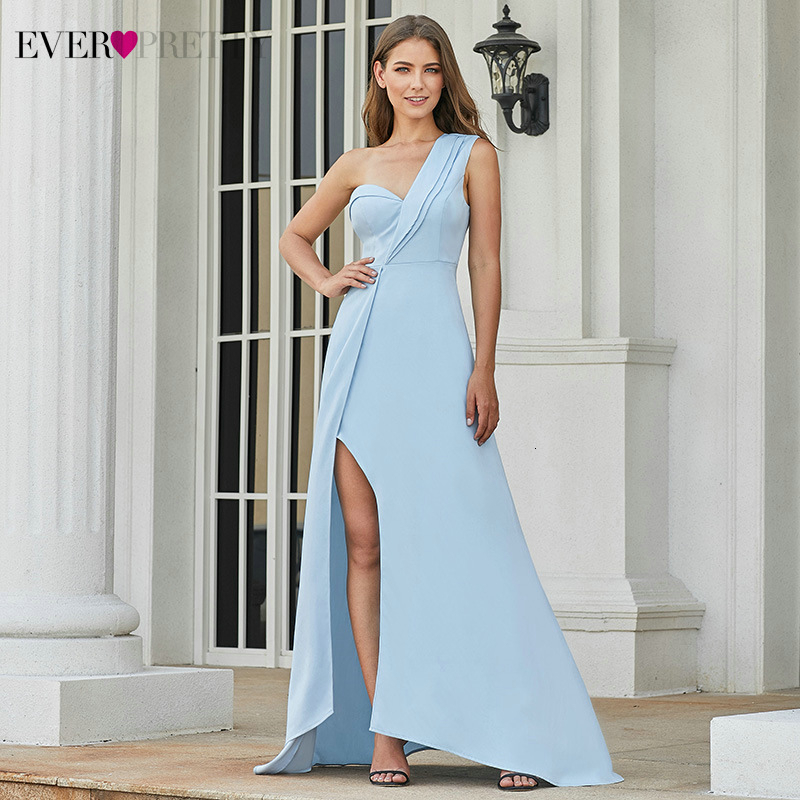 Sexy Blue Prom Dresses Ever Pretty A-Line One-Shoulder Ruffles Side Split Elegant Ladies Evening Party Gowns Vestidos De Gala