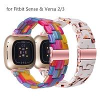 Correa de resina colorida para reloj Fitbit Sense, repuesto de pulsera para Versa 2/3/Lite, para hombre y mujer, de lujo