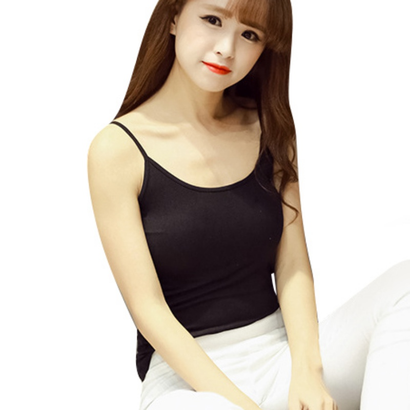 New Cotton Women Basic Camis Summer Sleeveless Top Satin Black White Bottoming Camisole Vest Stretchable Lady Slim Strap Tops W4