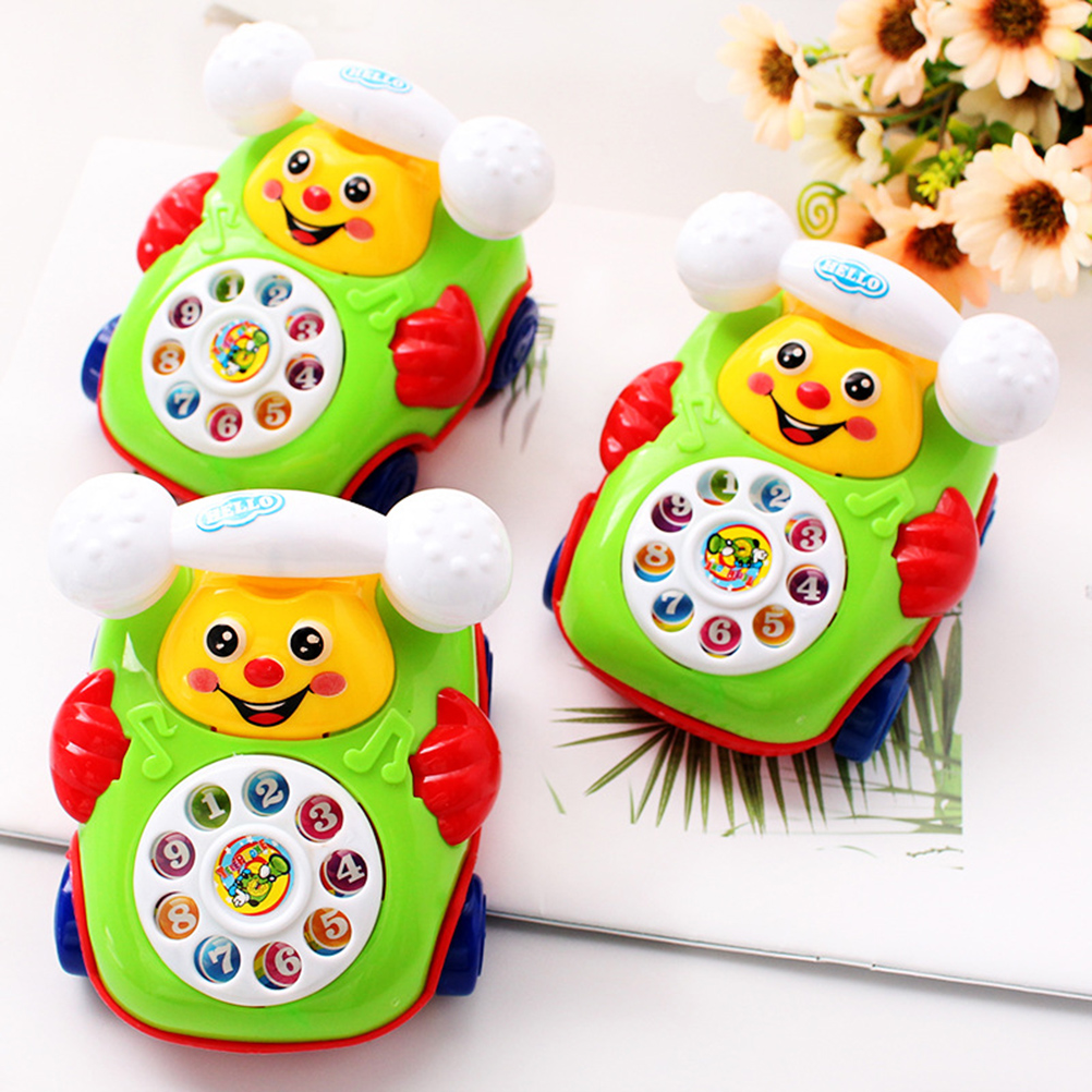 Baby Telephone Toy Colorful Plastic Children's Intelligence Fun Music Phone Toy Toddler Telephone Classic Kids Pull Toy(China)