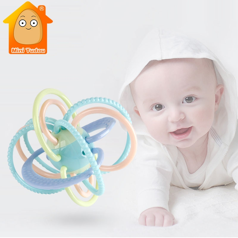 Baby Rattles Ball Toys Silicone Teether Newborns Music Hand Bell Infant Soft Rattles Educational Baby Toys 0-12 Months