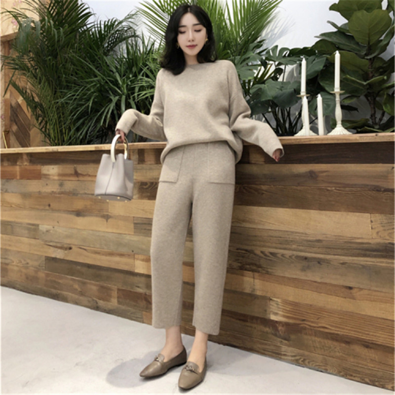 New Fashion 2019 Women Tracksuit Pocket Autumn Winter Knitted Pants Suit Long Sleeve Sweater Pullover Trousers Suit