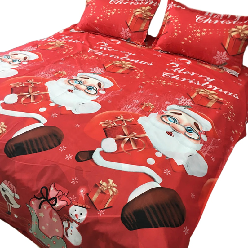 Bedding Set Cotton Four-Piece Set Quilt Cover Set Father Christmas Badge Bed Comforter Colorful Full King Queen Red