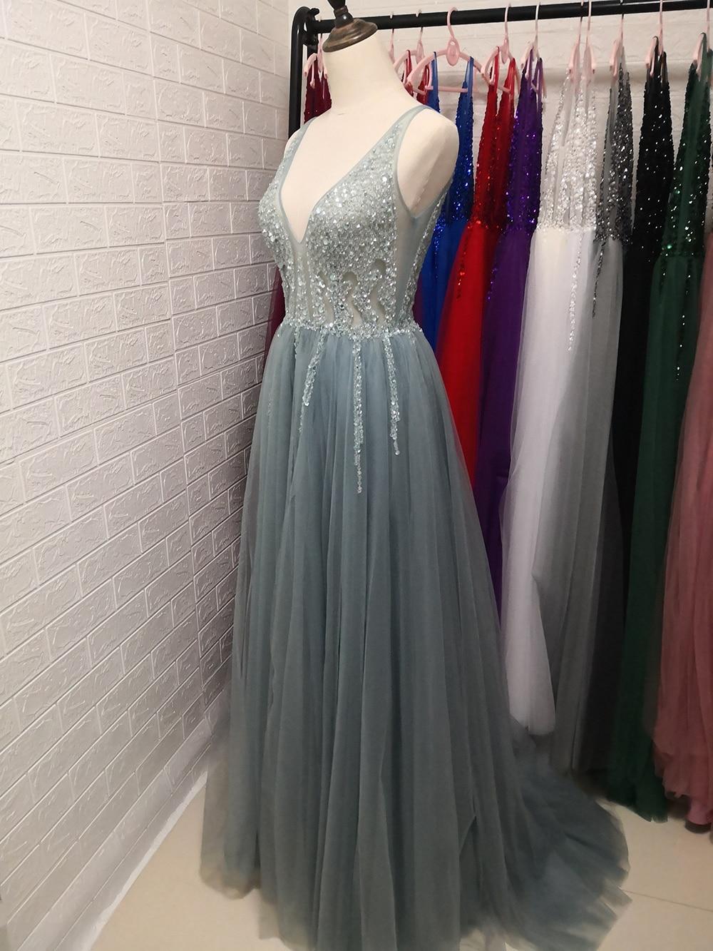 Сексуальное длинное вечернее платье с глубоким v-образным вырезом и разрезом сбоку, Новое поступление года, блестящее платье с высоким разрезом и открытой спиной, Abendkleider Lang - Цвет: haze blue