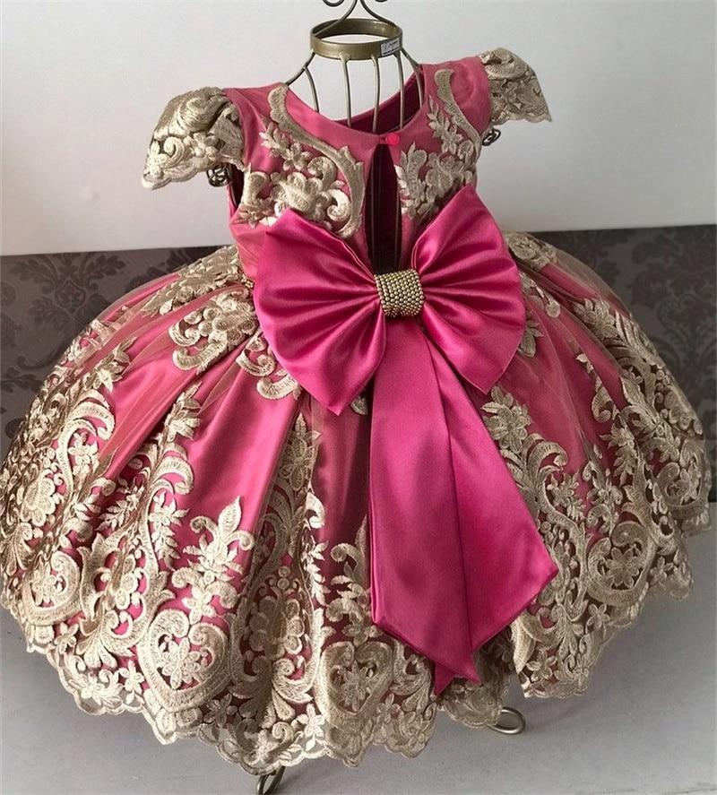 Kids Birthday Princess Party Dress for Girls Flower Bridesmaid Elegant Dress Children Wedding Party Formal Dress Prom Gown 3-10T 4
