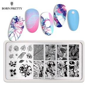 Image 1 - Urodzony dość tekstury paznokci tłoczenia płyty Leopard jesień prostokąt temat paznokci artystyczny obraz wydruku tłoczenia szablon liści wzornik