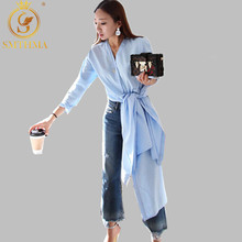 Женская весенняя блуза с разрезами SMTHMA, удлиненная блуза-рубашка с V-образным вырезом, длинными втачными рукавами, разрезами по бокам. Новое поступление, сезон весна