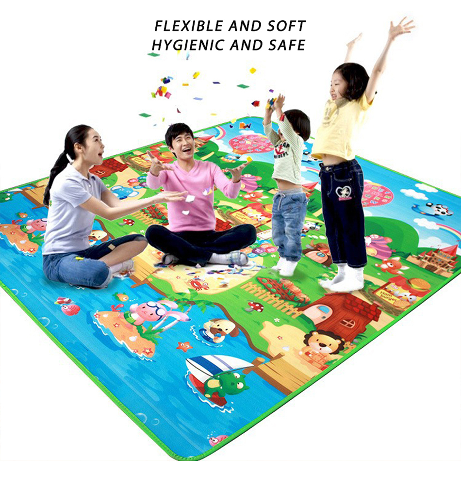 Ha5332667122247b7aaede93a9d104456K Baby Play Mat 0.5cm Thick Foldable Crawling Mat Double Surface Baby Carpet Rug Cartoon Developing Mat for Children Game Playmat