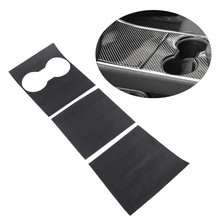 3Pcs/Set Carbon Fiber Style Center Console Water Cup Holder Decoration Cover Sticker Trim Fit For Tesla Model 3(China)