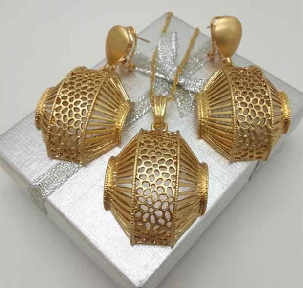 Fashion Dubai Gold Color Women Jewelry Sets Brand Necklace Earrings Pendant Jewelry set For Party Wedding Daily Wear Gift