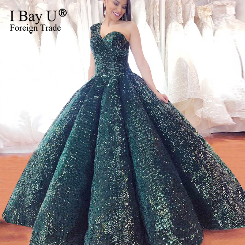Sparkly Dark Green Sequin Formal Evening Dresses Masquerade Sweetheart Ball Gowns One Shoulder Party Gown For Engagement