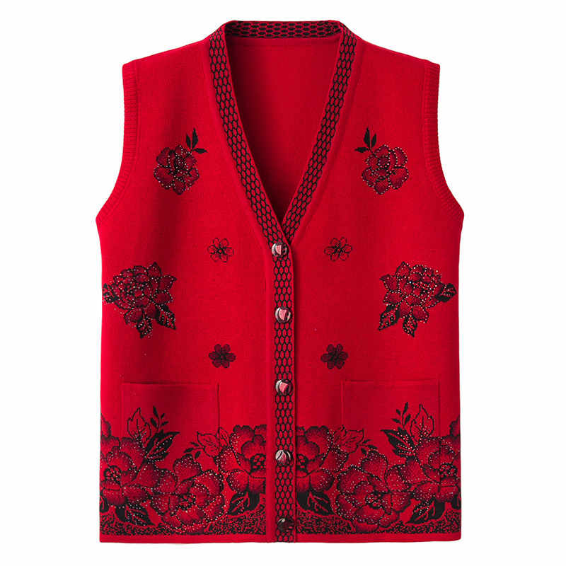 Plus size Middle-aged Women Knitted Vest Spring Autumn New Printed V-neck Sweater Vests Coat Female Fashion Cardigan Coat Tops