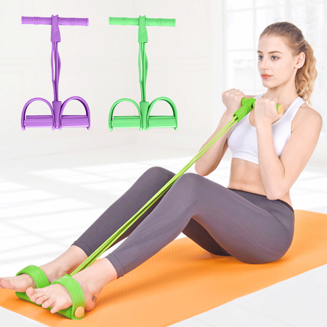 <font><b>Fitness</b></font> gum <font><b>4</b></font> <font><b>tubes</b></font>/2 <font><b>tubes</b></font> resistance band latex pedal exerciser sit-ups pull <font><b>rope</b></font> elastic band yoga equipment Pilates exercise image