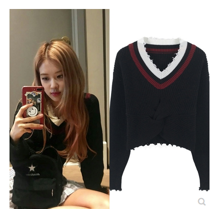 Kpop Blackpink Rose Same Black V-neck Knitted Sweater Women Clothes Slim Pullover Tops Korean Casual White Autumn Warm Sweaters