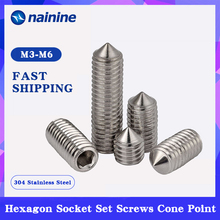 Hex-Socket-Set Screws DIN914 304-Stainless-Steel Hexagon M2-M12 Cone-Point A005