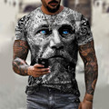 Men's Retro short sleeve T-shirt soldier and avatar print T-shirt round neck fashion casual summer 2021