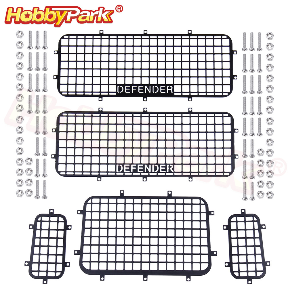 5pcs TRX4 Metal Window Mesh Protective Net DEFENDER Logo For 1/10 RC Crawler Car Traxxas TRX-4 Accessories