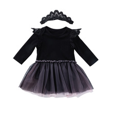 Child Outfit-set New Born Baby Girl Clothes Cotton Elegant Black Baby Suit 2020 Infant Baby Girl Romper Skirt+Headband 2PCS Suit
