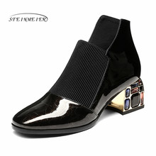 Solid Rhinestone High Heels Party Shoes Woman Spring New Genuine Leather Fashion Short Boots Women Ankle Boots Steinmeier(China)