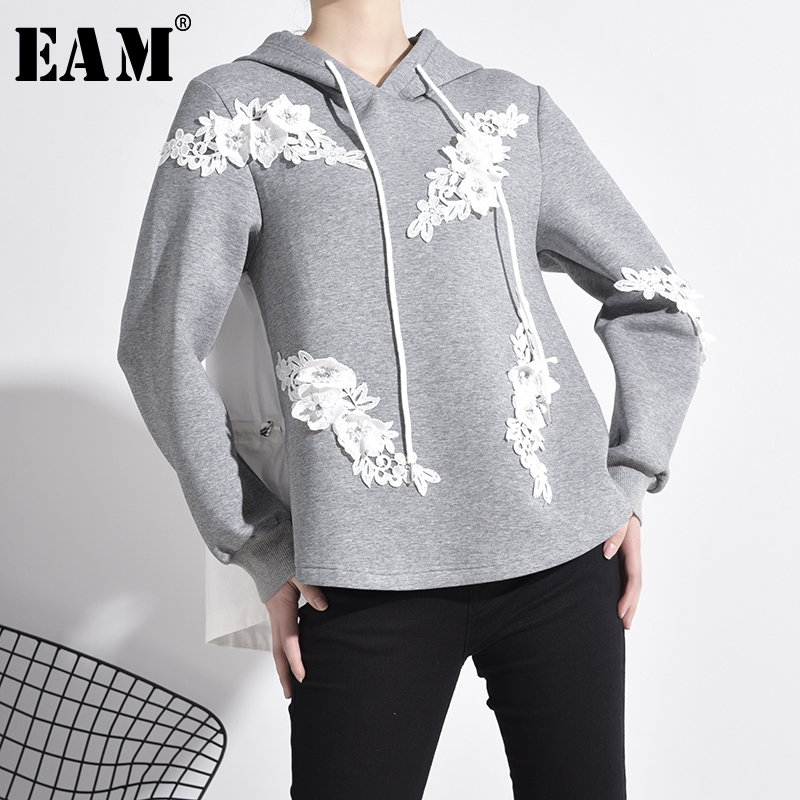 [EAM] Loose Fit Embroidery Nailed Drawstring Sweatshirt New Hooded Long Sleeve Women Big Size Fashion Tide Spring 2020 1M98102