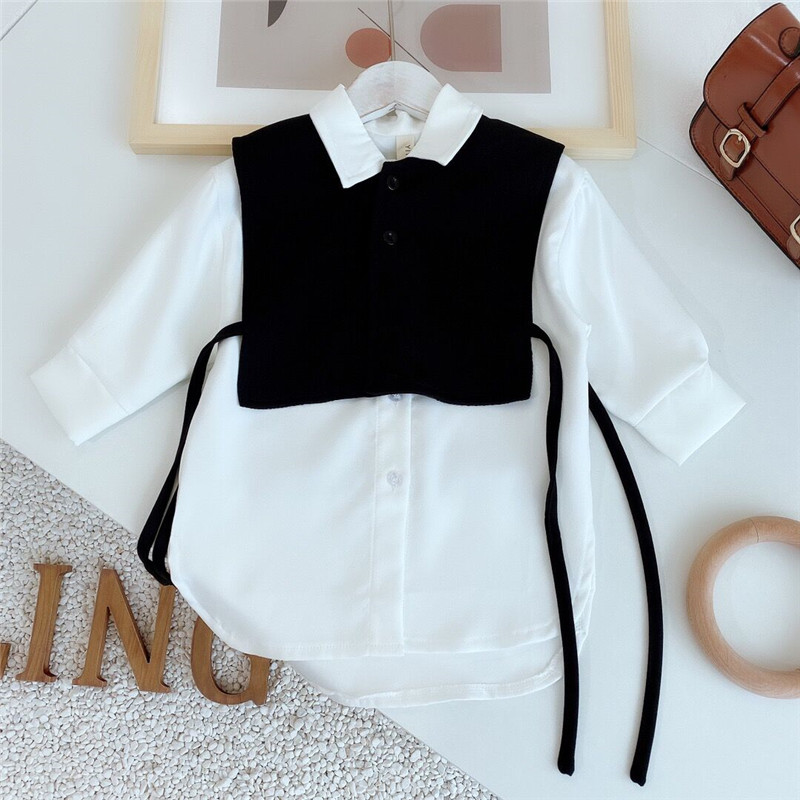 949.0¥ 35% OFF Gooporson Fashion Korean Loose Little Girls Long Sleeve Shirt Two Piece Set Blouse C...