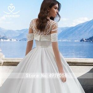 Image 4 - Stunning Satin Wedding Dress 2020 Swanskirt Beaded A Line Crystal Belt Court Train Bridal gown Illusion Vestido de noiva VY01